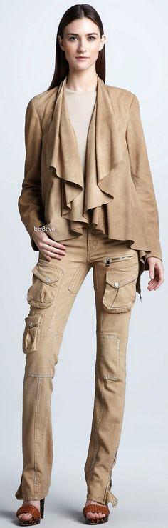 Ralph Lauren Black Label Tissue-Weight Suede Jacket, Cashmere-Silk Top & Stretch Cargo Pant