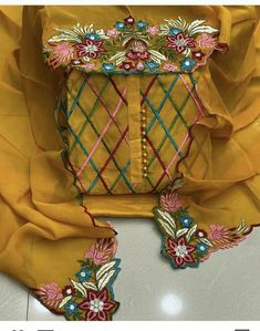 Bridal Suits Punjabi, Designer Punjabi Suits Patiala, Indian Designer Suits, Patiala Salwar, Embroidery Neck Designs, Embroidery Suits Design, Hand Embroidery Tutorial, Ribbon Embroidery, Embroidery Suits Punjabi
