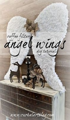 Coffee Filter Angel Wings Tutorial: 12 Days of Christmas Tour (Curb Alert! Coffee Filter Wreath, Coffee Filter Crafts, Coffee Filters, Coffee Filter Roses, All Things Christmas, Christmas Home, Xmas, Christmas Angels, Christmas Projects