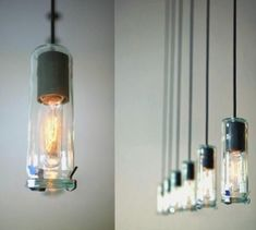 Squirrel Cage Light Bulbs in old jars by Matek