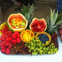 Fruit tray for 4th of July BBQ!