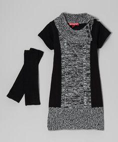 Cherry Stix Black Marled Split-Neck Dress & Arm Warmers - Toddler & Girls by Cherry Stix #zulily #zulilyfinds