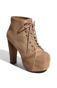 $107, Tan Suede Lace-up Ankle Boots: Jeffrey Campbell Lita Suede Bootie. Sold by Nordstrom. Click for more info: http://lookastic.com/women/shop_items/99114/redirect