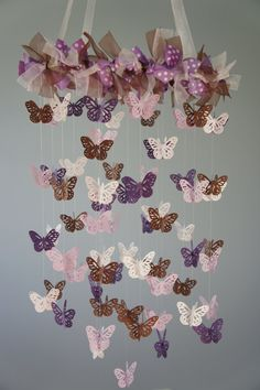 Lavender Butterfly Mobile for Baby Nursery