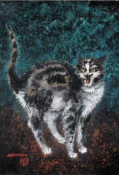 Nakamura Naondo (1905-1981), Cat, Gouache, ink and watercolor. (J)