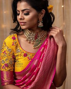 Available For orders/queries Call/ whats app us on 8341382382 or Mail us tejasarees@ Wedding Saree Blouse Designs, Half Saree Designs, Pattu Saree Blouse Designs, Stylish Blouse Design, Fancy Blouse Designs, Blouse Designs Embroidery, Designer Sarees Wedding, Blouse Patterns, Teja Sarees