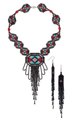 Jewelry Design - Bib-Style Necklace and Earring Set with Seed Beads and Gemstone Beads - Fire Mountain Gems and Beads