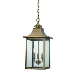 Classic Vented Hood Outdoor Pendant aged_brass