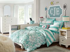 Chelsea Blooming Bedroom // the perfect pop of our favorite color, pool!