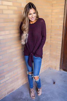 Heathered Tie Front Long Sleeve- Burgundy - Dottie Couture Boutique