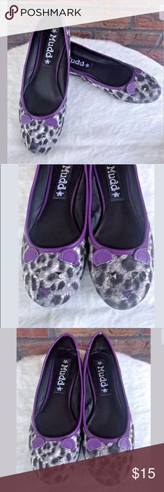 Purple Leopard Kitty Cat Face Shoes Ballet Flats Mudd Purple Leopard Size 8 Kitty Cat Face Unique Shoes Ballet Flats One of Kind!  I see no flaws on the shoes except a few whiskers missing from the cat. Mudd Shoes Flats & Loafers