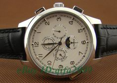 Parnis 44mm Luxury Watches White Dial Moon Phase Day & Date Automatic Mens Watch