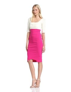 Shop Hybrid Women's Henley Sleeve Two Tone High Waist Pencil Dress, HenleyIvory/Navy, Size Free delivery and returns on eligible orders. Women's Henley, 3 4 Sleeve Dress, Pencil Dress, Diana, Hot Pink, Dresses With Sleeves, Fashion 2014, Skirts, High Waist
