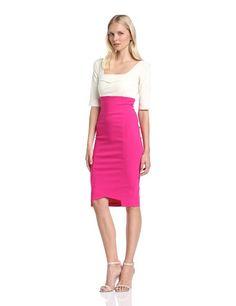 Hybrid Women's Henley 3/4 Sleeve Two Tone High Waist Pencil Dress, Cream/Hot Pink, Size 8: Amazon.co.uk: Clothing