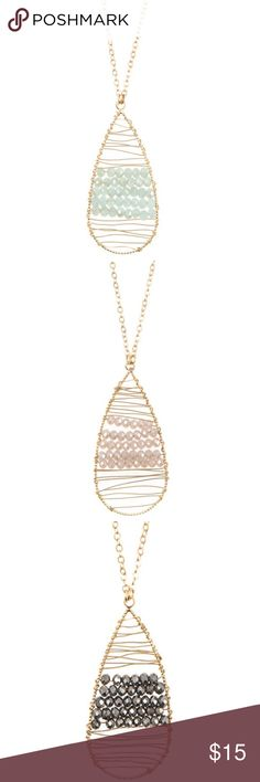 NEW Teardrop Pendant Necklace -Other Colors Avail So pretty! Wired teardrop pendant necklace. Beaded accent. Gold tone. Approx. length 30 inches. Adjustable. Available Colors: Mint and Pink Other colors will become available if there is interest- comment below on the other colors you like; either Hematite (Black), Beige or Baby Blue ⭐️Posh compliant, posh rules only ⭐️Brand new item in packaging ⭐️No trades and no holds ⭐️Bundle and save ⭐️Same or next day shipping