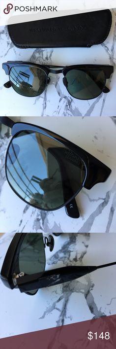 Westward leaning black sunglasses Comes with case. 49mm lens width; 21mm bridge width; 140mm temple length. Westward Leaning Accessories Sunglasses