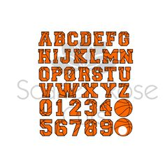 Basketball letters font SVG cut file, Basketball numbers, basket ball monogram, sport digital file by ScarlettRoseCuts on Etsy