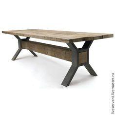 Мебель ручной работы. Ярмарка Мастеров - ручная работа. Купить Стол обеденный Лофт (Loft X-legs). Handmade. Коричневый