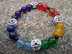 Pagan pentagram chakra bracelet