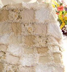 RUSTIC & VICTORIAN CHARM / white/cream/beige rag quilt-so pretty :) on We Heart It - http://weheartit.com/entry/53314301/via/linxy_zn
