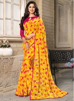 New Arrival of Indian Ethnic wear for women, men or kids. Casual Saree, Printed Silk, Indian Ethnic Wear, Work Casual, Daily Wear, Traditional Outfits, Silk Sarees, Sari, Yellow