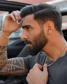 Popular Mens Hairstyles, Mens Hairstyles With Beard, Boys Long Hairstyles, Haircuts For Men, Beard Styles For Men, Hair And Beard Styles, Short Fade Haircut, Sexy Beard, Man Beard