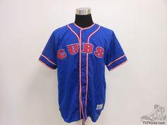 Mens True Fan Chicago Cubs Button Up Baseball Jersey sz M Medium SEWN MLB #TrueFan #ChicagoCubs  #tcpkickz