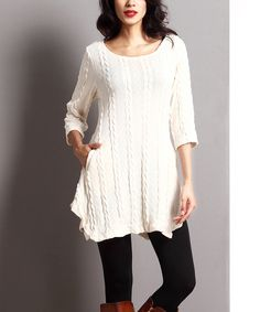 Look at this Winter White Cable-Knit Pocket Tunic on #zulily today!