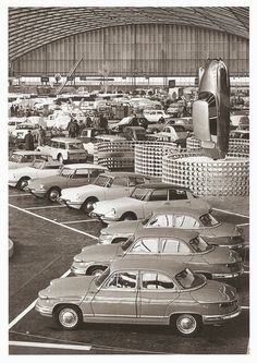 Paris car show. Citroen DS and some Panhards in the foreground