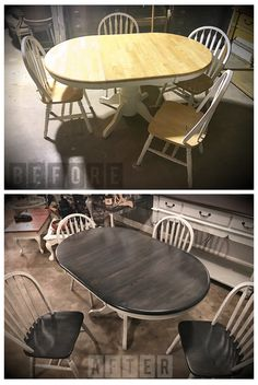 Transform your outdated double pedestal oak table and chairs with paint and a paint sprayer. Refurbished Furniture, Repurposed Furniture, Furniture Makeover, Refinished Chairs, Distressed Furniture, Distressed Kitchen Tables, Painted Farmhouse Table, Painted Kitchen Tables, Painted Tables