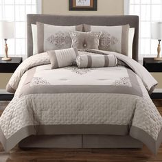 The luxuriously embroidered Anniston Comforter Set includes everything you need to create a stylish designer look on your bed right out of the bag. Master Bedroom Redo, Living Room Bedroom, Beautiful Living Rooms, Beautiful Bedrooms, Beautiful Beds, King Comforter Sets, Bedding Sets, Bed In A Bag, Contemporary Bedroom
