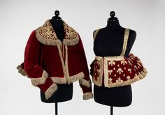 "Jacket Date: 1840–80 Culture: Russian Medium: silk, metal, cotton The dushegreya in Russian costume is also commonly known as a ""body warmer"". The style is seen both with and without sleeves."