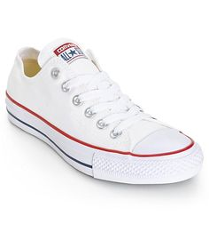As one of the most iconic sneakers in the world, the Chuck Taylor All Star offers a timeless look with its classic white canvas low top upper and quality vulcanized rubber outsole.