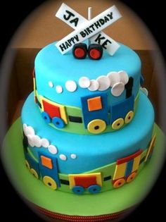 Double layer colorful train cake for birthday party Trains Birthday Party, Train Party, Cool Birthday Cakes, 2nd Birthday Parties, Boy Birthday, 6 Train, Train Birthday Party Cake, 1 Year Old Birthday Cake, Second Birthday Ideas