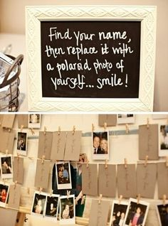 Cool idea to bring a personal touch to your wedding- get guests to replace their name with a fun picture if themselves on the day