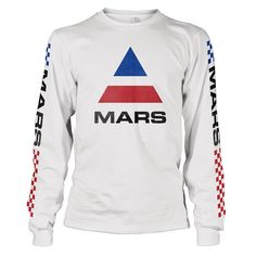 This item is on order and will ship by May 21, 2018.Long sleeve cotton tee with faded Mars logo on front and BMX detailing down the arms. No graphic on back. 100% Cotton