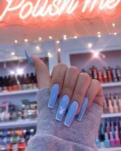 Drip Nails, Bling Acrylic Nails, Acrylic Nails Coffin Short, Simple Acrylic Nails, Coffin Shape Nails, Best Acrylic Nails, Acrylic Nail Designs, Blue Coffin Nails, Cuffin Nails