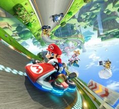Mario Kart YES! I hope it's as good or better than Mario Kart Wii. ^-^ watched it on Nintendo Direct and it looks AWSOME! New stuff that will put my son and I on enemy terms. While we play. Well, just have to wait and see. Kirby Nintendo, Nintendo Wii U Games, Wii Games, Super Nintendo, Super Mario Bros, Playstation, Xbox 360, Mario Kart 8, Mario Brothers