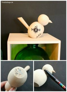 billige træfugle og træfigurer fra Tina Dalbøges kreahobshop.dk - her dekoreret med Posca penne - til boliginteriør og styling