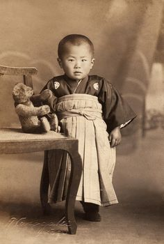 +~+~ Antique Photograph ~+~+  Adorable Japanese boy with his teddy bear.