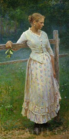 Nikolay Kasatkin, Girl by the fence