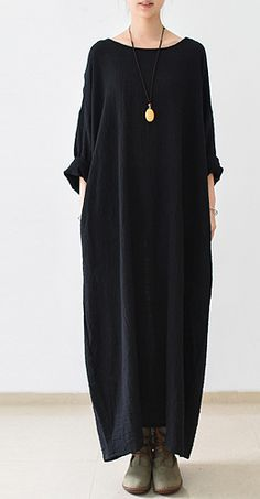 2016 fall thin black linen dresses long sleeve linen caftans gown