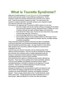 Exceptional Children Resources : Tourette Syndrome