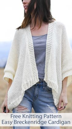 Free Knitting Pattern for Easy Breckenridge Topper Cardigan - Beginner-friendly pattern knit flat in 2 rectangles and seamed to form wide sleeves. No picking up stitches. Sizes Small, Medium, Large, XL, Designed by Mama In A Stitch. Baby Knitting Patterns, Knitting Designs, Knitting Tutorials, Stitch Patterns, Knit Cardigan Pattern, Shrug Pattern, Baby Cardigan, Easy Knitting, Knitting Needles