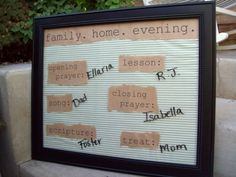 Family Home Evening Board