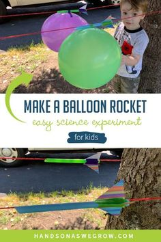 Exciting a simple science experiment for kids. Toddlers and preschoolers will love this balloon straw rocket race science and gross motor activity! Try it outdoors or in a hallway. #easyscienceforkids Preschool Rocket, Preschool Science, Science For Kids, Toddler Preschool, Balloon Science Experiments, Science Experiments For Preschoolers, Outdoor Activities For Kids, Toddler Activities, Balloon Rocket