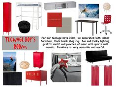 Ideas for DJ's room, gray, with hits of red and black