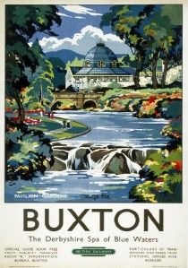 Vintage British Railways (London Midland Region) travel poster of Pavilion Gardens at Buxton, Derbyshire. Artwork by Kenneth Steel.