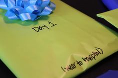 .gifts for older sibling to open while parents are away at the hospital. I love this idea for one day!