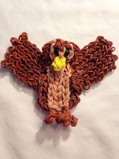 Rainbow Loom Winnie the Pooh OWL. Designed and loomed by Lumefinity. Click on photo for YouTube tutorial. 04/02/14